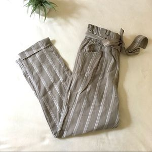 THREAD & SUPPLY•Tan Striped Trouser Paperbag Pants